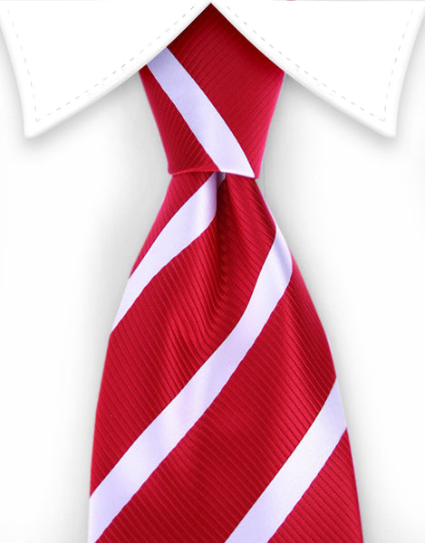 Red and white striped extra long tie
