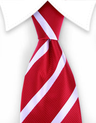 red and white striped ties