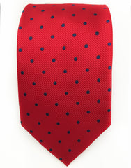 Red tie with blue dots