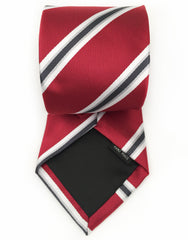red, silver, white, black striped tie