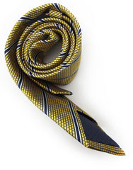rolled up gold & navy tie