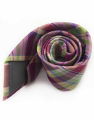 Purple, Green & Multi-Color Plaid Tie