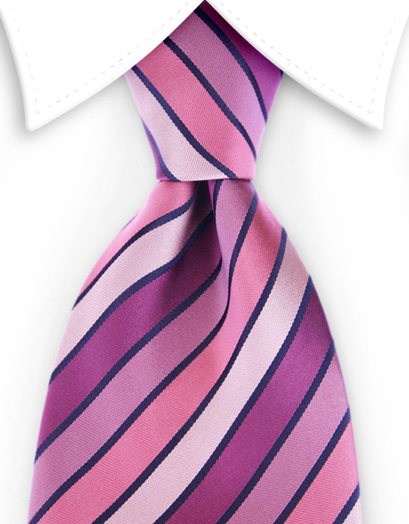 a8679efca626 Variegated Pinks and Purple Striped Tie – GentlemanJoe