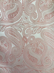 Blush Pink and Rose Gold Paisley Pocket Square
