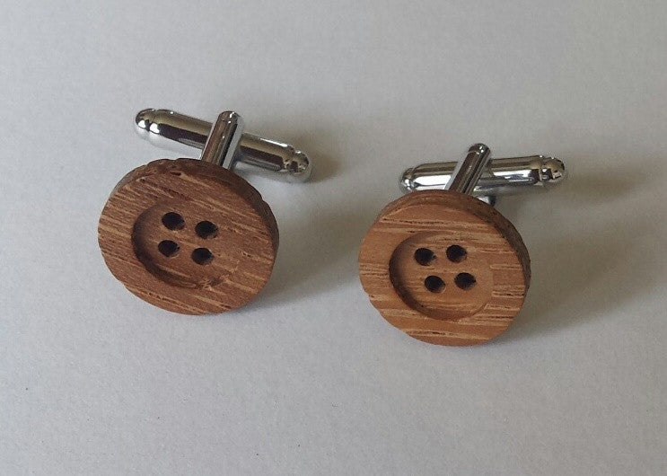 Wood button cuff links