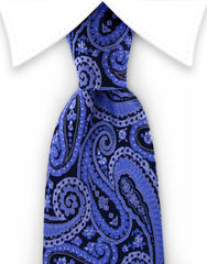 Blue and black paisley silk tie