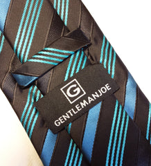 Black, teal and turquoise striped necktie
