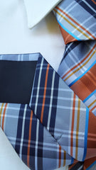 Navy, Orange & Silver Plaid Tie