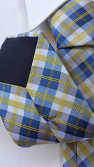 blue yellow plaid necktie