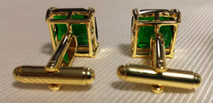 Green stone cufflinks in gold plated setting
