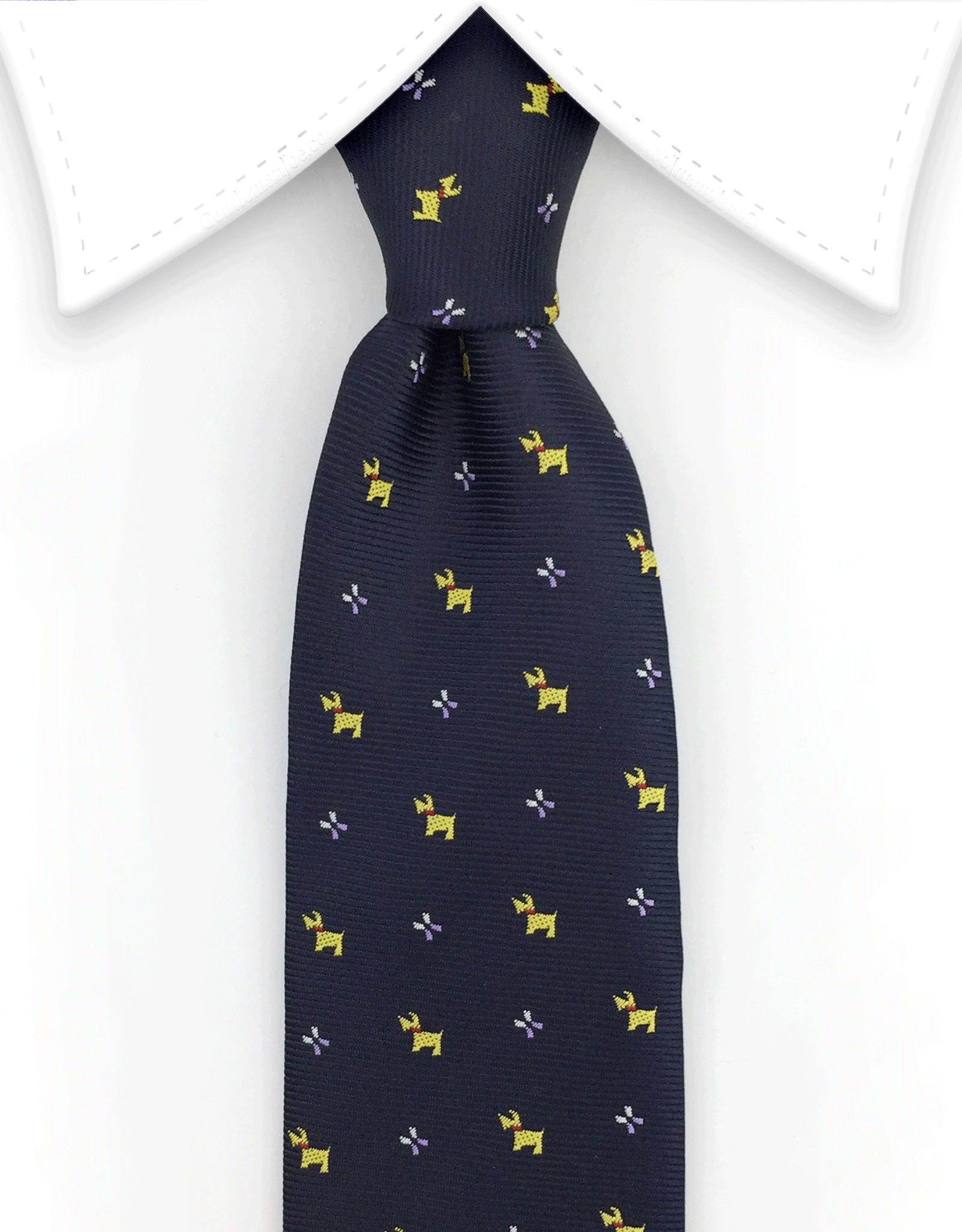 Navy Blue Scottish Terrier Dog Necktie