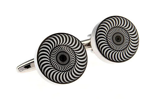 Black and white circular cufflinks