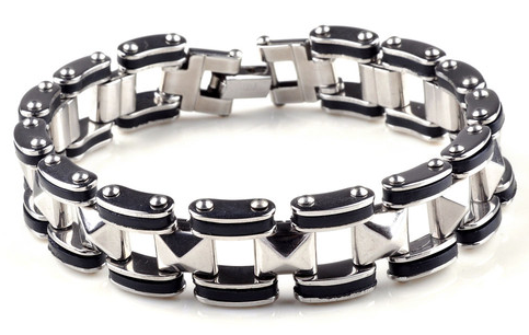 Stainless steel and black bracelet