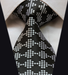 Black and silver mens tie