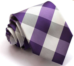 Purple White & Charcoal Plaid Tie
