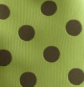 Green necktie swatch with khaki polka dots