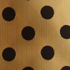 Gold pocket square with black polka dots
