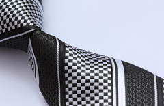 black and silver necktie