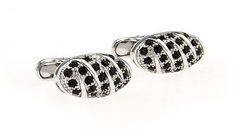 silver cufflinks with little black crystals