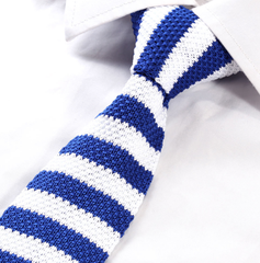 Blue and white striped skinny knitted tie