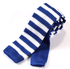 Royal Blue & White Striped Knit Tie