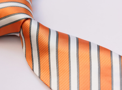 Orange and White Striped Tie