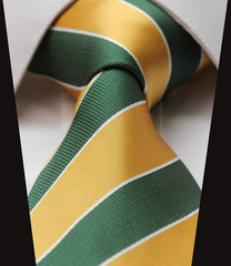 Gold and Green Striped Collegiate Tie
