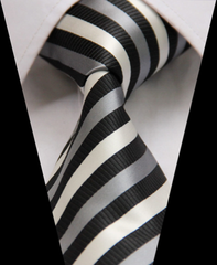Black, White & Silver Striped Necktie
