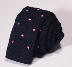 navy blue and pink dot tie