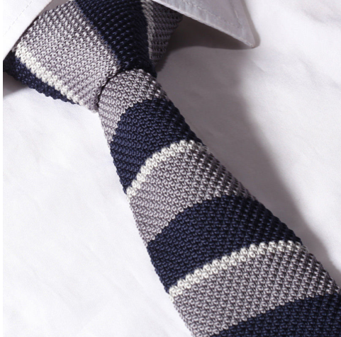 gray and navy stripe knit tie