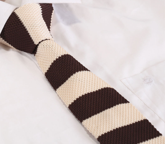 Cream and Dark Brown Striped Narrow Knitted Tie