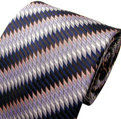 Silver & Navy Striped Necktie