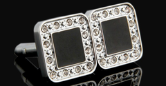 Silver cufflinks with black and crystals