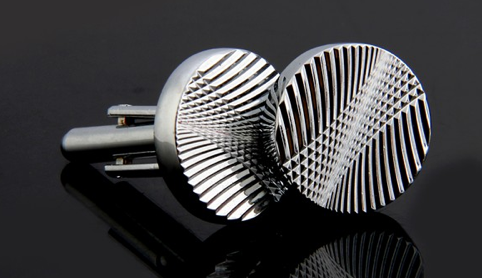 silver circle cuff links
