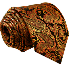 orange and black paisley tie