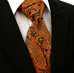 Golden Orange Paisley Tie