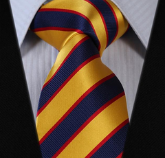 Golden Yellow & Navy Striped Tie
