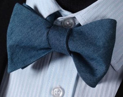 Blue Cotton Bow Tie