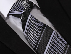 Black & Silver Striped Necktie