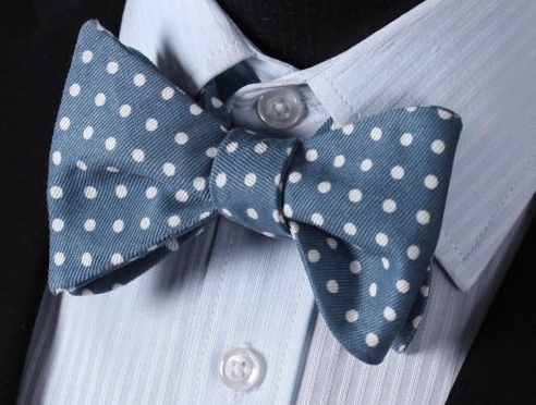 Cotton Blue Bow Tie with White Dots
