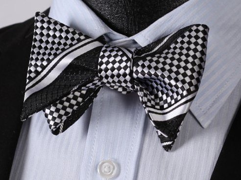 Self-Tie - Black & Light Silver Bowtie