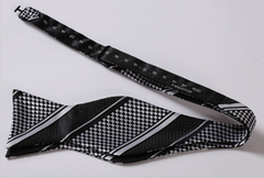 Black & Light Silver Self Tie Bow Tie