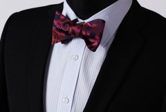Purple Pink Orange Floral Bow Tie