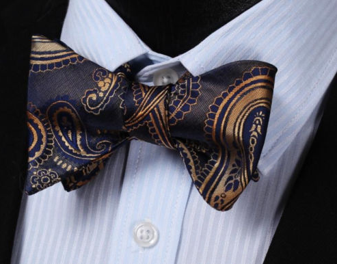 Self tie Navy and Gold Paisley Bow Tie