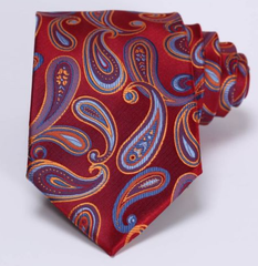Red & blue paisley tie