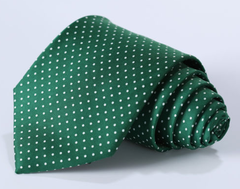 green & white dot tie
