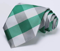 Green, White, Charcoal Tie