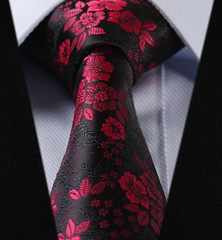 Red floral tie