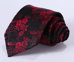 red flower tie on black
