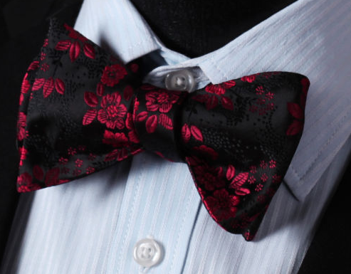 burgundy red floral on black bowtie